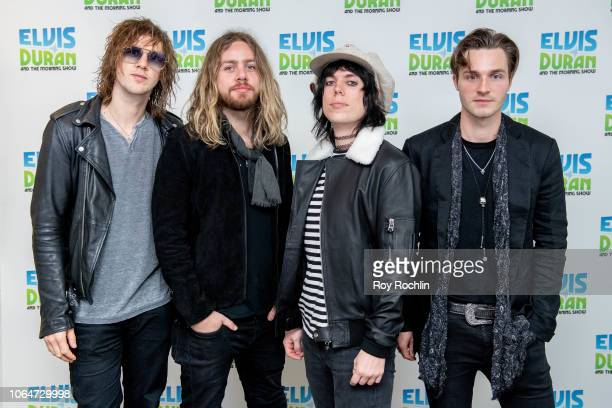Gethin Davies Luke Spiller Adam Slack and Jed Elliott of The Struts as they visit the Elvis Duran show at Z100 Studio on November 07 2018 in New York...