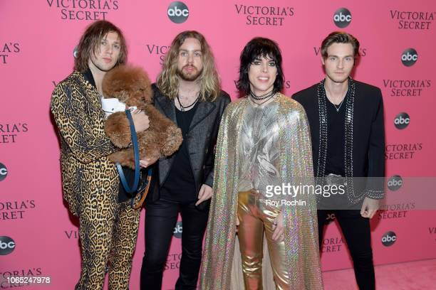Gethin Davies Luke Spiller Adam Slack Jed Elliott of The Struts attend the 2018 Victoria's Secret Fashion Show at Pier 94 on November 08 2018 in New...