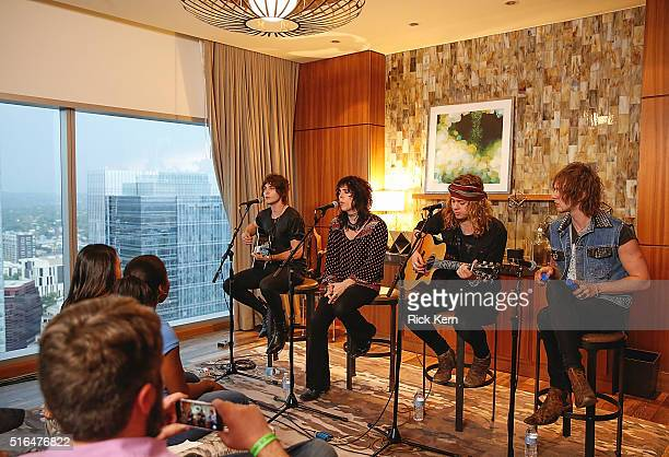 Gethin Davies Luke Spiller Addo Slack and Jed Elliott of The Struts perform an intimate show presented by Marriott Rewards and UMG at the JW Marriott...