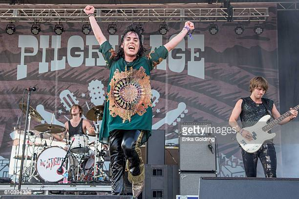 Gethin Davies Luke Spiller and Jed Elliott of The Struts perform on September 24 2016 in Franklin Tennessee