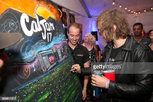 Gethin Davies of The Struts at the Capital One Cardholder Lounge during Cal Jam 17 at Glen Helen Regional Park on October 7 2017 in San Bernardino...