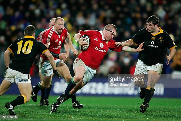 Gethin Jenkins of the Lions charges upfield during the match between Wellington and the British and Irish Lions at the Westpac Stadium on June 15...