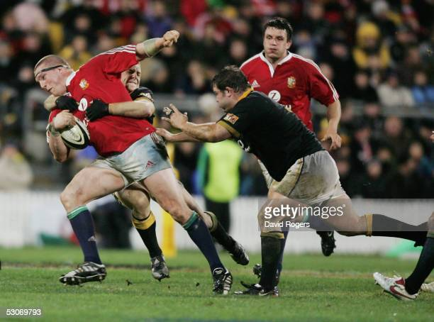 Gethin Jenkins the Lions prop is stopped by the Wellington defence during the match between the British and Irish Lions and Wellington at The Westpac...