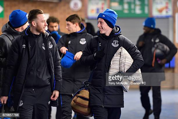 Gethin Jones and Harry Charsley arrive for the Everton in the Community Sleepover Event at Goodison Park on November 25 2016 in Liverpool England
