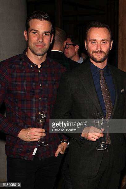 Gethin Jones and Jason Atherton attend the launch of chef Jason Atherton's new restaurant 'Sosharu' in Clerkenwell on March 2 2016 in London England