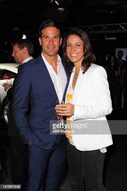 Gethin Jones and Julia Bradbury attend the launch of Aston Martin Vanquish at the London Film Museum on July 4 2012 in London England