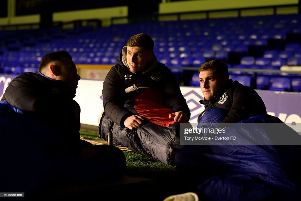 Everton U23 Squad Sleepover at Goodison Park in Support of Homeless Charities