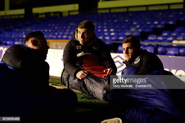 Gethin Jones Jonjoe Kenny and Conor Grant during for the Everton in the Community Sleepover Event at Goodison Park on November 25 2016 in Liverpool...