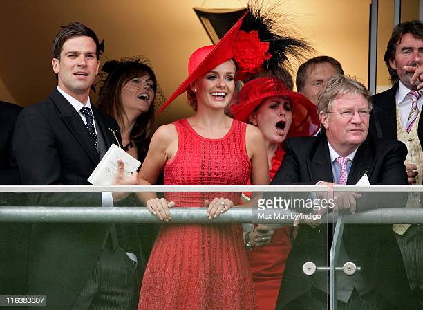 Gethin Jones Katherine Jenkins and Jim Davidson watch the racing as they attend day 2 of Royal Ascot at Ascot Racecourse on June 15 2011 in Ascot...