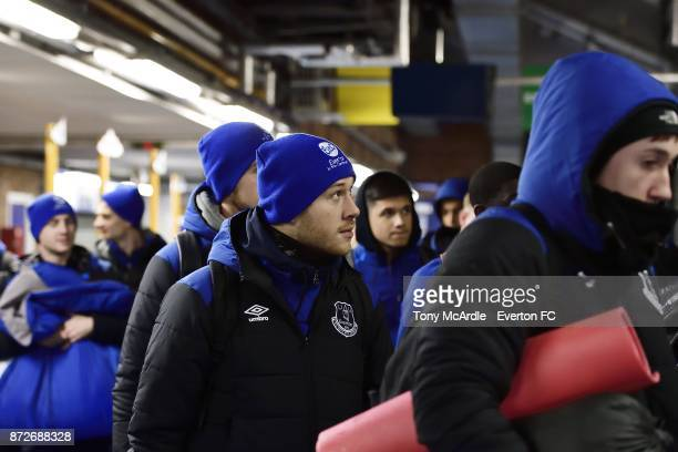 Gethin Jones of Everton arrives to take part in the Goodison Sleepout at Goodison Park on November 10 2017 in Liverpool England