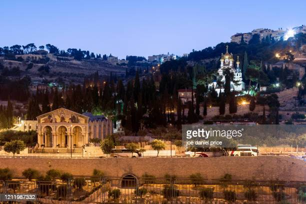gethsemane, church of mary magdalene, mount of olives, jerusalem, israel - garden of gethsemane stock pictures, royalty-free photos & images