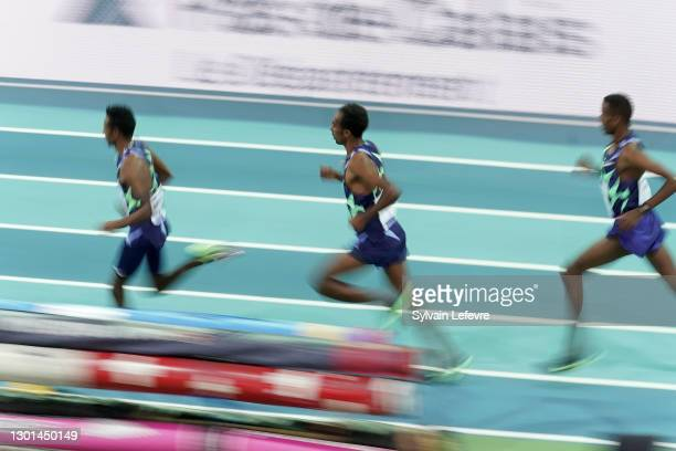Getnet Wale, Lamecha Girma and Selemon Barega of Ethiopia compete in the the men's 3000m final during the World Athletics Indoor Tour at Arena Stade...