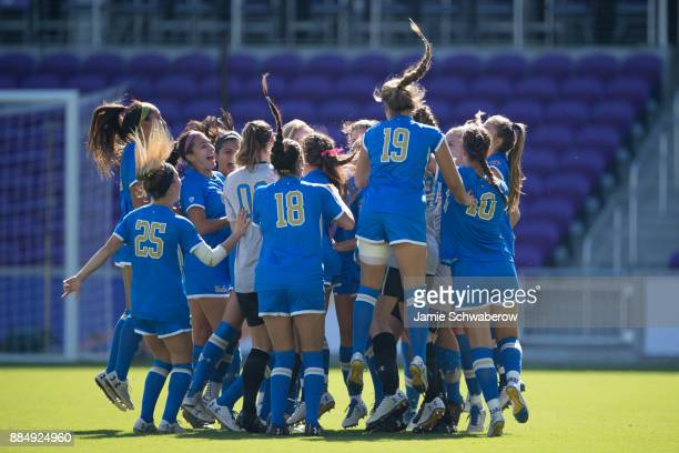 UCLA gets pumped up prior to the start of the Division I Women's Soccer Championship held at Orlando City SC Stadium on December 3 2017 in Orlando...