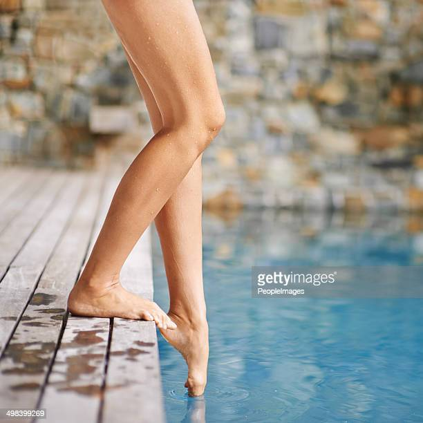 getting a feel for the water - pretty toes and feet stock photos and pictures