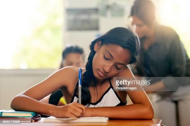 Getting a head start on her homework