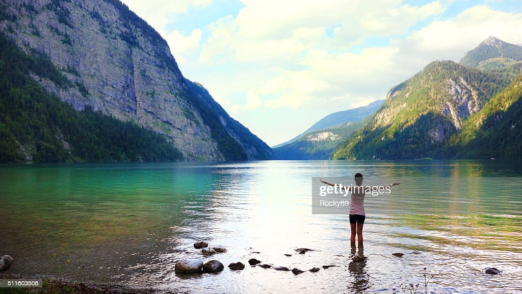 Getting away from it all at Königssee, Germany : Stock Photo