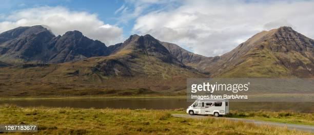 getting away from it all – touring in a motorhome, skye, scotland, uk - camper van stock pictures, royalty-free photos & images