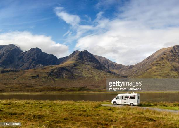 getting away from it all - touring in a motorhome, skye, scotland, uk - camper van stock pictures, royalty-free photos & images