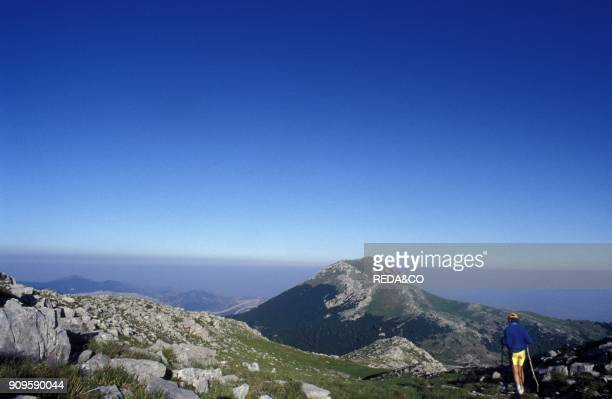 Getting down from Pollino's peak to Dolcedorme Calabria Italy