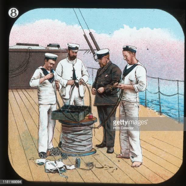 Getting Electric Light ready HMS Edinburgh' circa 1900 From The British Navy Primus Magic Lantern Slides Junior Lecturers Series B [W Butcher Sons]...