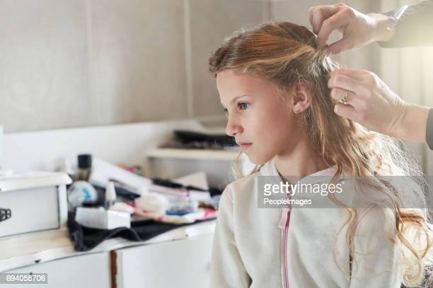 Getting her hair done