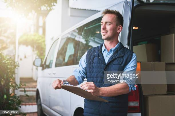 getting his deliveries out - van stock pictures, royalty-free photos & images