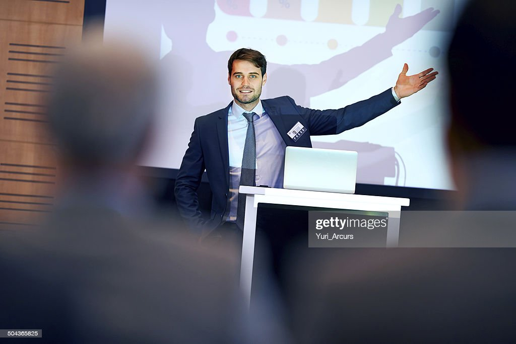 Getting his message across successfully : Stock Photo