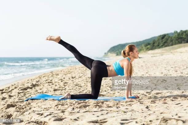 getting in shape - yoga pants stock photos and pictures