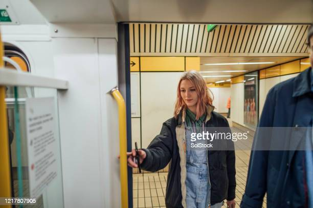 getting onto the subway - tyne and wear stock pictures, royalty-free photos & images