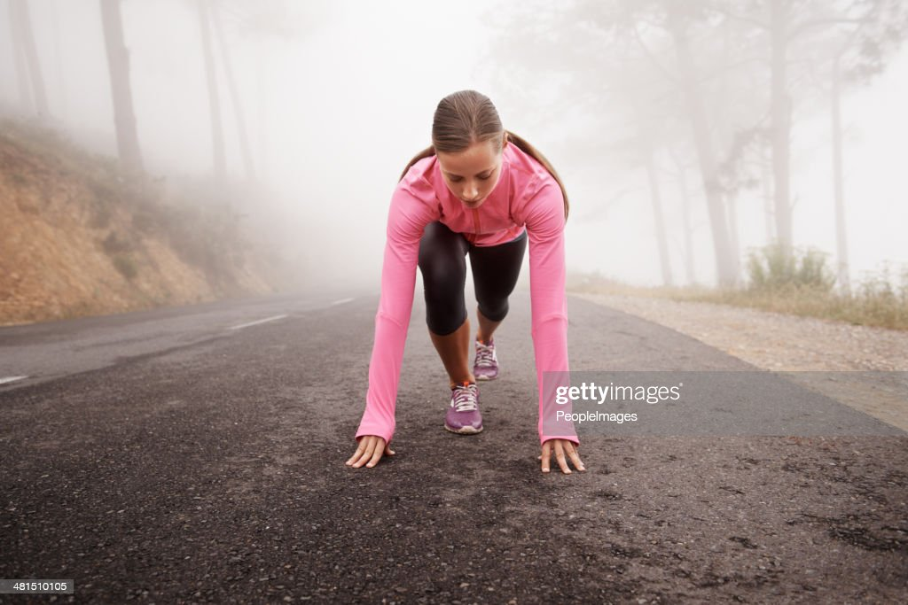 Getting psyched for the run : Stock Photo