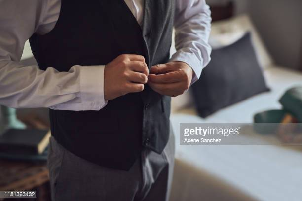 getting ready for a special day - waistcoat stock pictures, royalty-free photos & images
