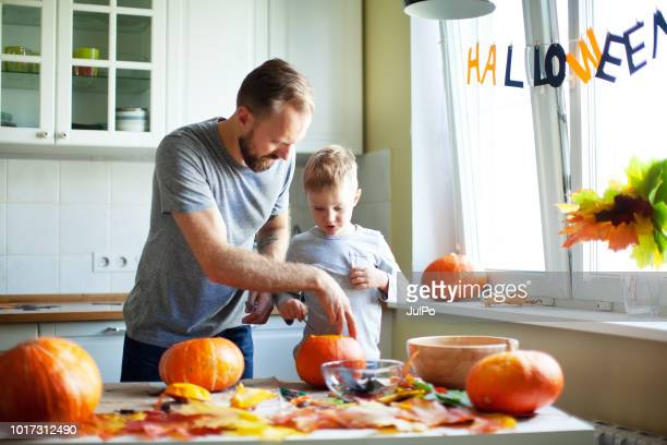 getting ready for halloween - jack o lantern stock photos and pictures