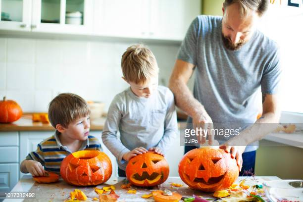 getting ready for halloween - halloween kids stock photos and pictures