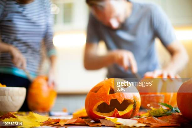 getting ready for halloween - pumpkin stock pictures, royalty-free photos & images