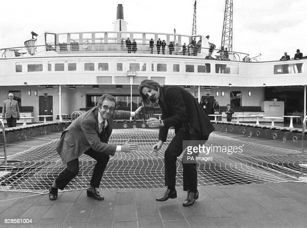 Getting ready for some deck games on board the QE2 at Southampton are actor Peter Sellers and Beatle Ringo Starr