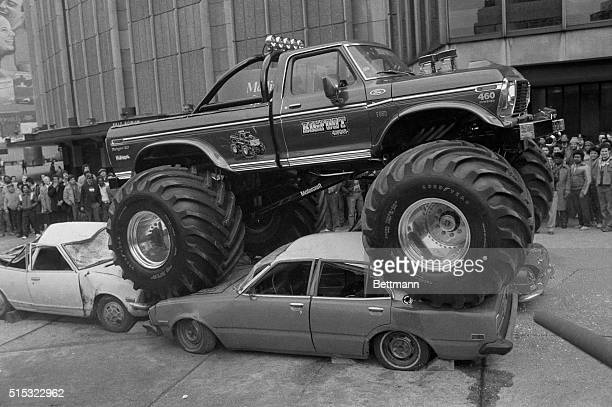 Getting ready for the Motorsports spectacular at Madison Square Garden Bigfoot crushes a couple of cars in an outdoor warmup