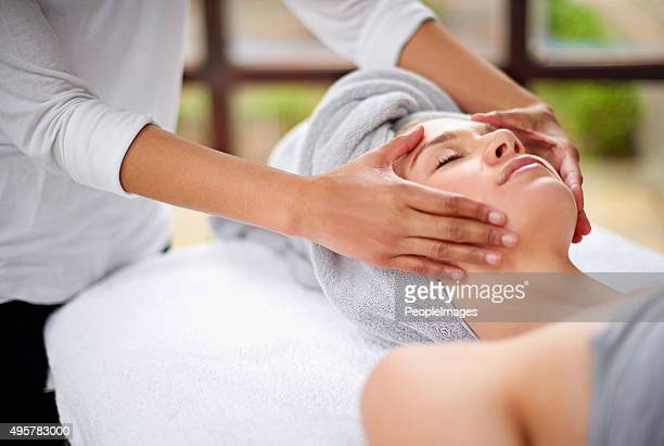 getting rid of all the tension - beauty care occupation stock photos and pictures