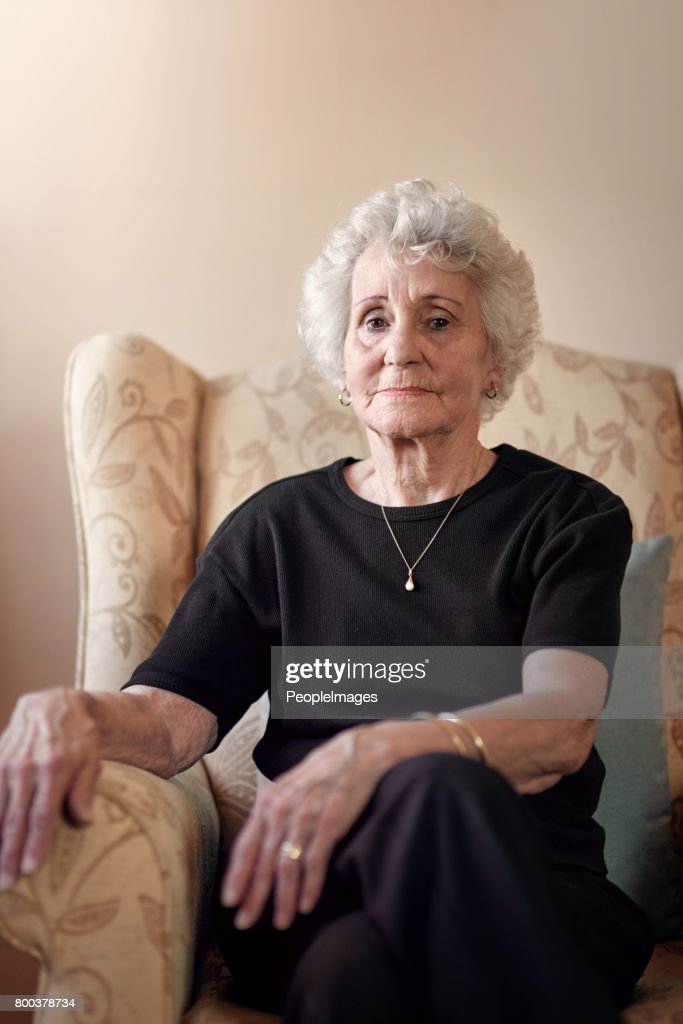 Getting serious in her gray years : Stock Photo