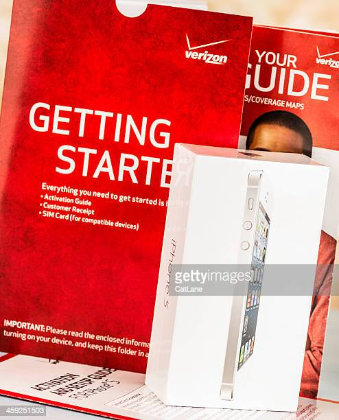 getting started with verizon and a new iphone 5 - airtight stock photos and pictures