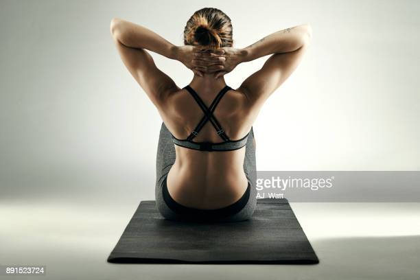 getting stronger everyday - sit ups stock photos and pictures