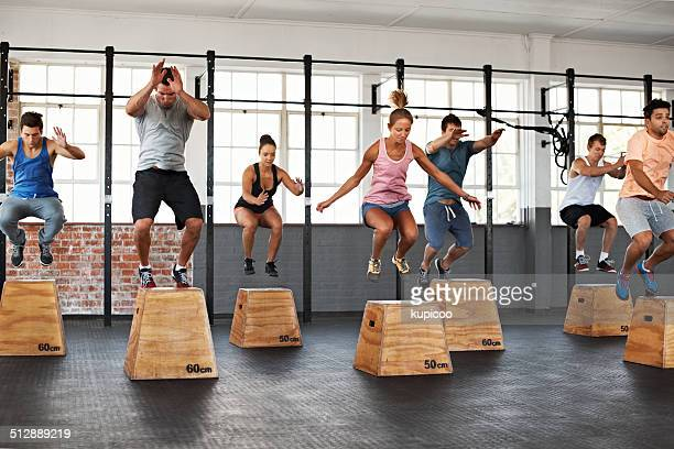 getting the jump on fitness - circuit training stock photos and pictures