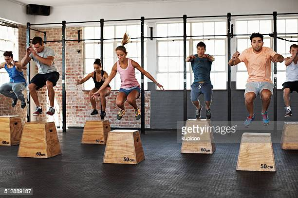 getting the jump on good health - circuit training stock photos and pictures