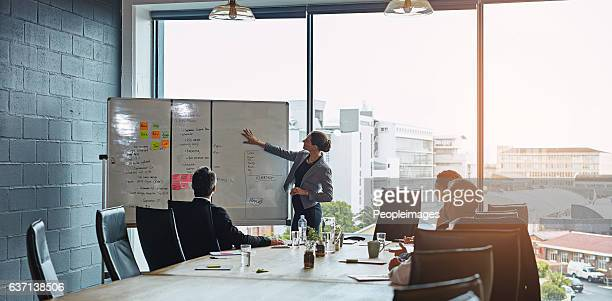 getting the team onboard with her plan - business strategy stock photos and pictures
