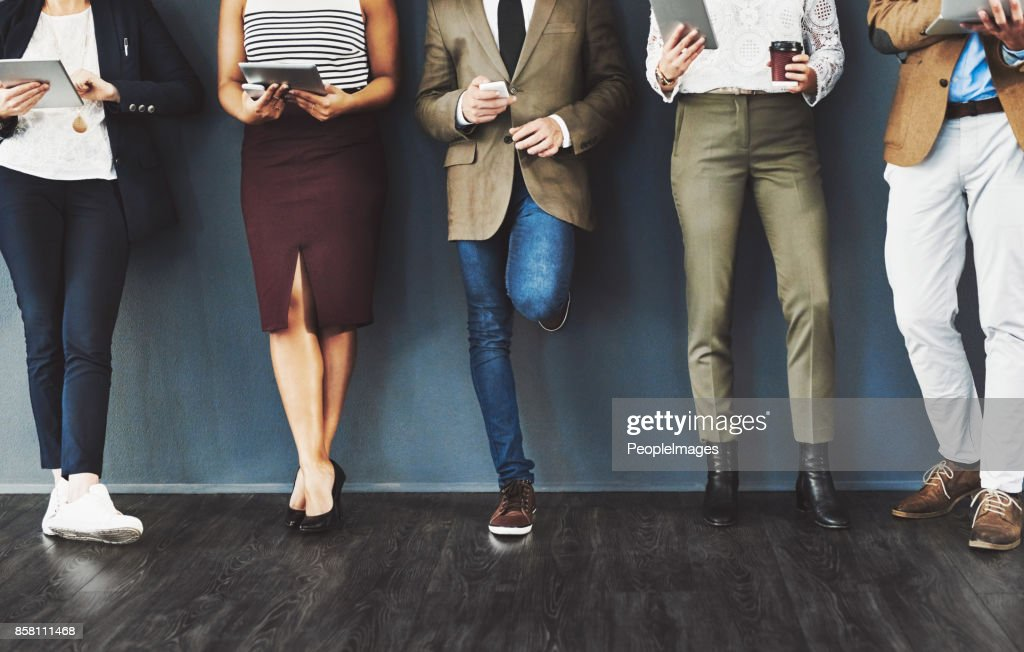 Getting their feet into the door of business : Stock Photo