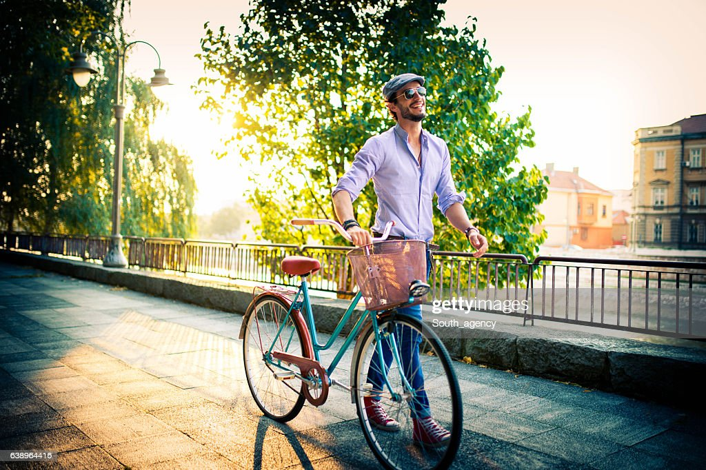 Getting to work by bike today : Stock Photo