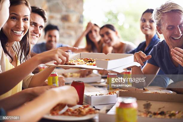 Getting together for pizza