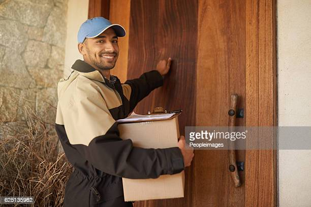 getting your package delivered on time every time - knocking on door stock photos and pictures