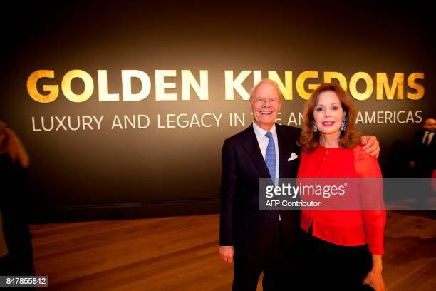 Getty board president, Maria Hummer Tuttle, poses with Thomas W. Gaehtgens, director of the Getty Research Institute in Golden Kingdoms, during Getty...