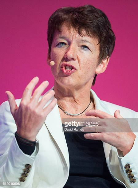 Getty Images' CEO Dawn Airey speaks during a keynote conference on day 3 of the Mobile World Congress 2016 on February 24 2016 in Barcelona Spain The...