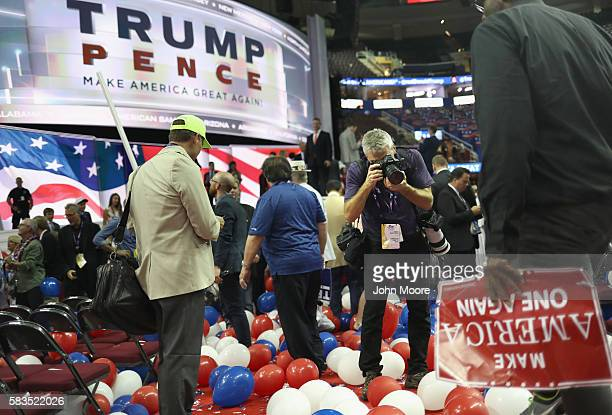Getty Images photojournalist Joe Raedle photographs after Republican presidential candidate Donald Trump formally accepted his party's nomination on...